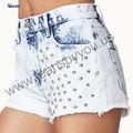 Populaire style fashional filles hot pants vêtements usine en chine clouté femmes pantalons courts
