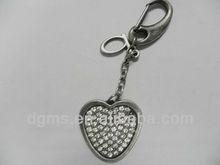 custom design fashion key chain metal pendants, metal bead chain on product, heart shape diamond charms