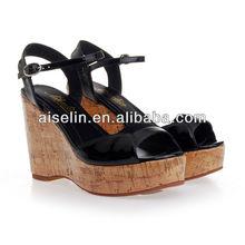 wooden heels beach sandal shoes women wedge heel
