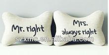 Bone shaped Mr right printed couple car neck protecting cushion