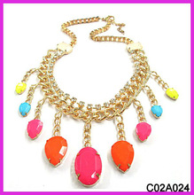 Gold chain fluorescence color drop necklace2013
