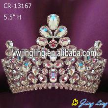 fashion style big rhinestone pageant crown for sale