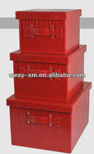Set of 3 high quality leather red storage container with handle for office