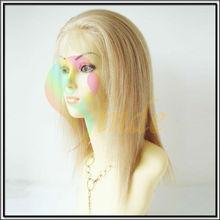 Glue less human hair wig silk top swiss blonde