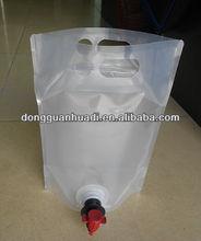 plastic beverage packaging bag with cap