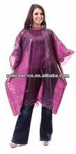 PE purple disposable rain poncho