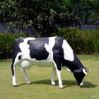 resin life size grazing cow