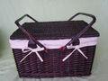 овальном портативный плетеные корзинки для пикника с подкладкой