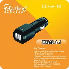 5V/2100mA+1000mA dual USB mini car charger for samsung/GPS