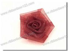Mini organza fabric rosette bow flowers