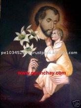 "Art Oil Painting ""St. Joseph and Jesus"" 28x20"" Peru"