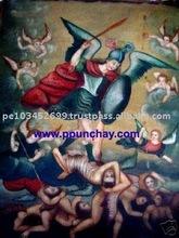 "Art Oil Painting ""Michael Archangel"" 28x20"" Peru"
