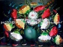 """Art Oil Painting """"Vase of Flowers"""" 13x10"""" Peru"""