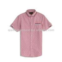 Men's ribbon trimming collar and pocket short sleeve casual shirt