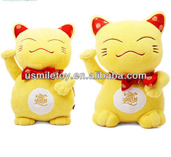 top quality plush yellow lucky cat with red bowties