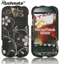 Nero/argento fiore& vitigni design protettiva copertina rigida caso per huawei u8680 mytouch