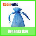 Blue tote organza bags with logo printed drawstrings