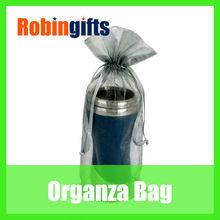 Grey popular hot stamping wine drawstring organza bags