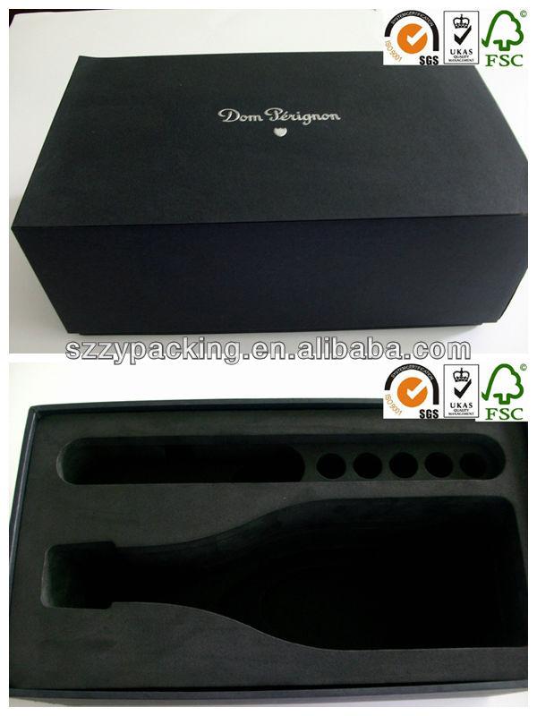 big black wine gift box with thick EVA holder