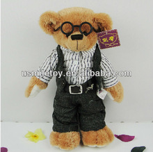 EN71 stuffed adorable bear doctor with nice overalls and glasses
