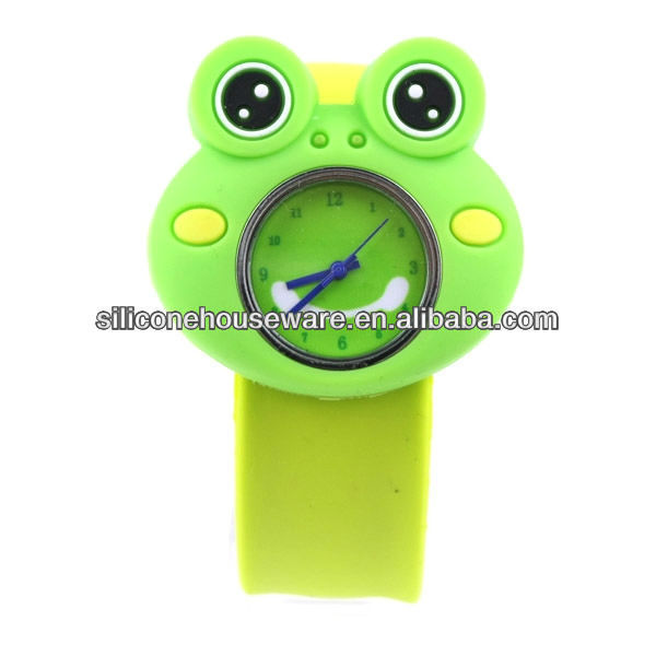 CARTOON LIME GREEN & GREEN FROG GIRL/BOY SILICON SLAP WATCH BRACELET-NEW
