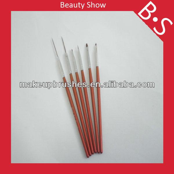 6pcs professional nail art design brush set makeup brush set ,new cosmetic nail art pen and brush set,factory price