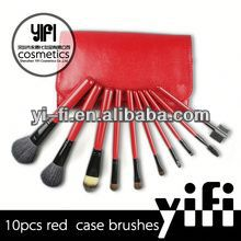 Hot Sale! Red Case 10pcs Makeup Brush set color shine makeup brushes makeup artist