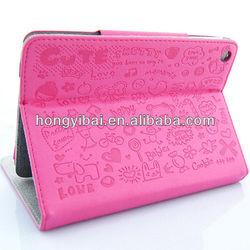 cute pattern stand design PU+PC case for mini ipad