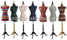 Female Decorative Dress Form Mannequin Print Fabric Flowers Wallpaper