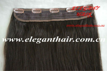 100% human hair extension one piece clip in hair