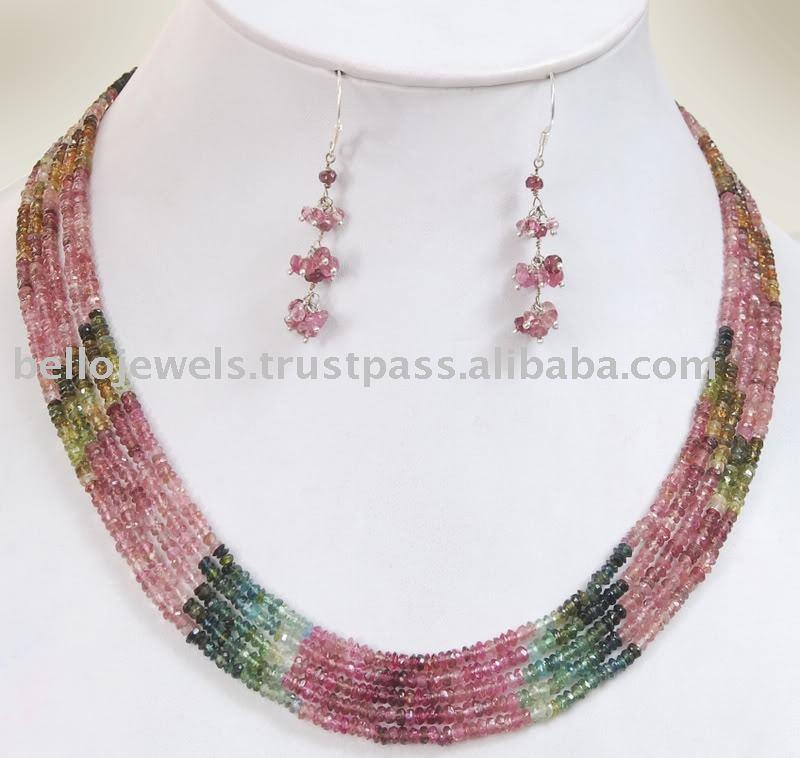Designer Beaded Jewelry Tourmaline Gemstone Necklace Set