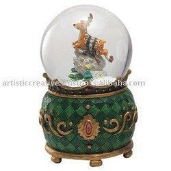 Christmas Glass Snow Globe - GREEN DEER