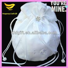 Party,banquet lady bag,round satin pure white bag,shenzhen gift bag