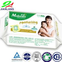 Moisturizing soft no Acohol baby wet wipes add Aloe and Vitamin A and E