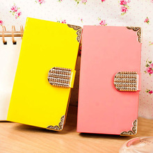 genuine PU leather flip card wallet cover electronic plating border candy colors leather case for samsung galaxy s4 i9500