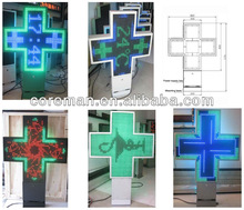 top selling products wall mounted red color,blue color show symbol led cross pharmacy sign