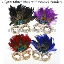 Masquerade Glitter Jewel Feather EYE MASK Masked Ball Fancy Dress Mardis Gras MK035