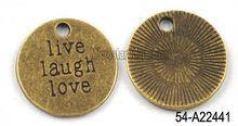 19mm zinc alloy pendant with message 'live, laugh, love'