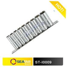"""3/8"""" DR.9pcs Socket Set of Hardware Tool Kit Made of Chrome Vanadium 50BV30 in Metal Shelf"""