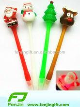 plastic christmas Santa Claus light up ball pen