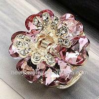 E055 Korean Style Crystal Flower Hair Claw Clip