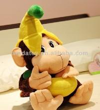 Small monkey with banana custom plush toys
