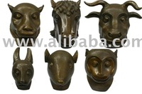 Bronze Chinese dog/horse/cattle/monkey heads sculptures