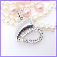 22x27mm Silver Blank Heart Pendant Charm #16633