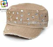 Rhinestone kahki military cowboy hat