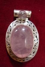 Rose Quartz Sterling Silver Pendant Handmade Nepal