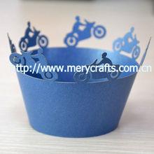 creative design! laser cut sea blue color cupcake wrapper bicycle party supplies