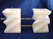 Alabaster Ceramic pair of Candelabrums Candle Holder Peru
