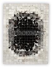 cowhide rug GENUINE LEATHER carpet panel 10x10 cm s & pr black white