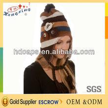 Fabric earflap decorate beanie hat knitting pattern